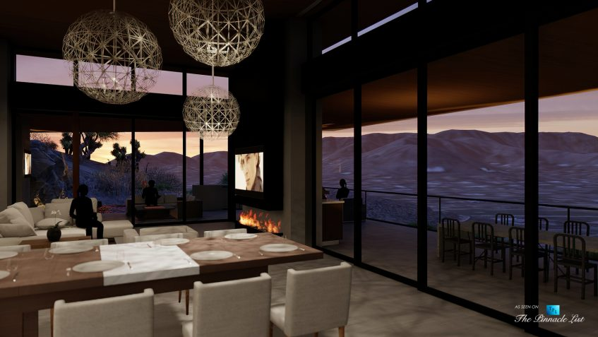 5221 E Cheney Dr, Paradise Valley, AZ, USA - Interior Living Room Night View - Luxury Real Estate - Modern Hillside Home