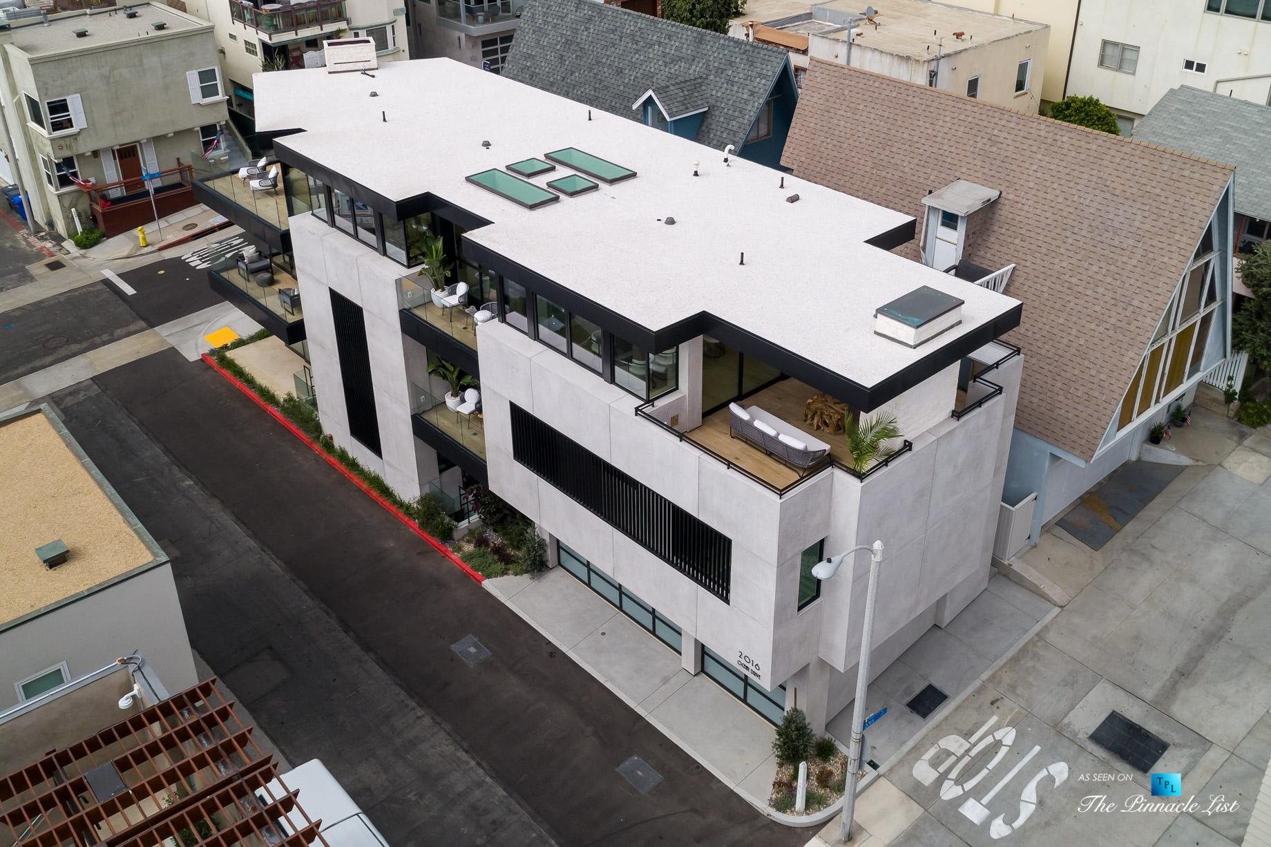 2016 Ocean Dr, Manhattan Beach, CA, USA - Drone Side View - Luxury Real Estate - Modern Ocean View Home
