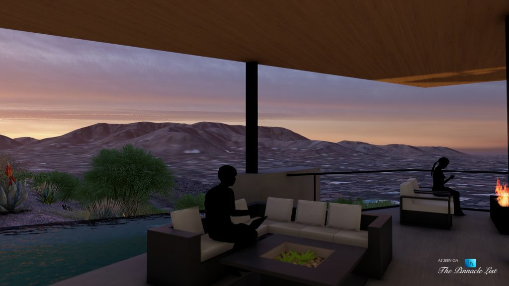 5221 E Cheney Dr, Paradise Valley, AZ, USA - Exterior Deck Night View - Luxury Real Estate - Modern Hillside Home