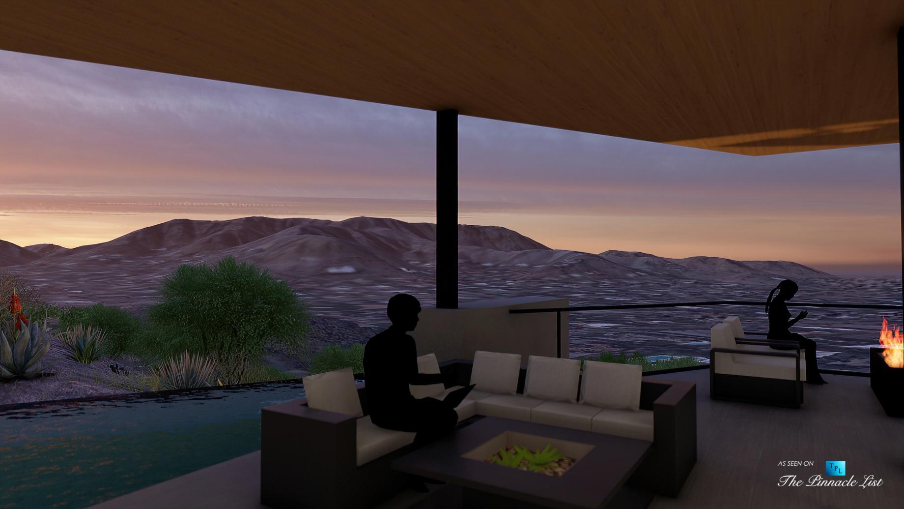 5221 E Cheney Dr, Paradise Valley, AZ, USA – Exterior Deck Night View – Luxury Real Estate – Modern Hillside Home