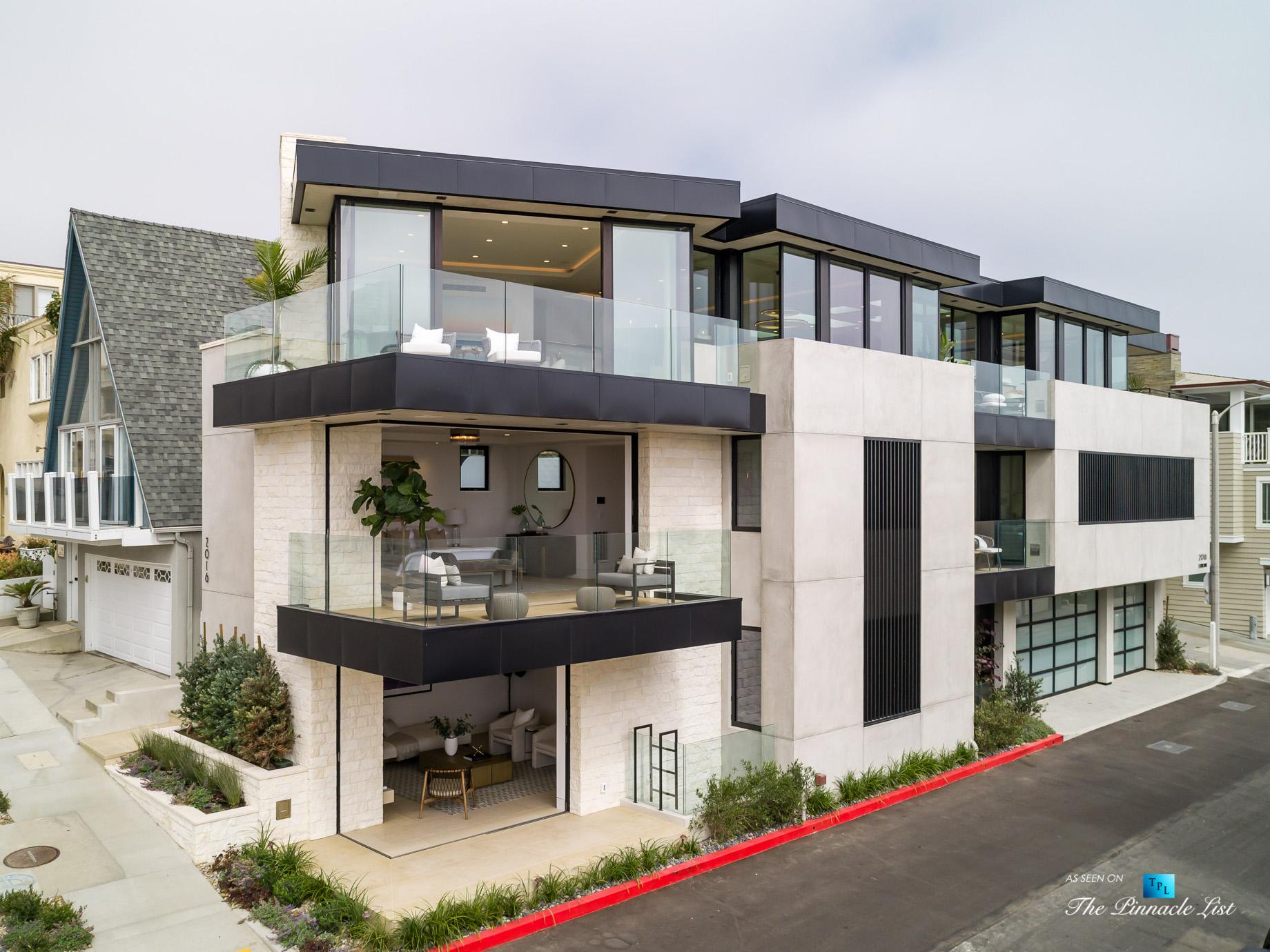 2016 Ocean Dr, Manhattan Beach, CA, USA – Drone Exterior View – Luxury Real Estate – Modern Ocean View Home
