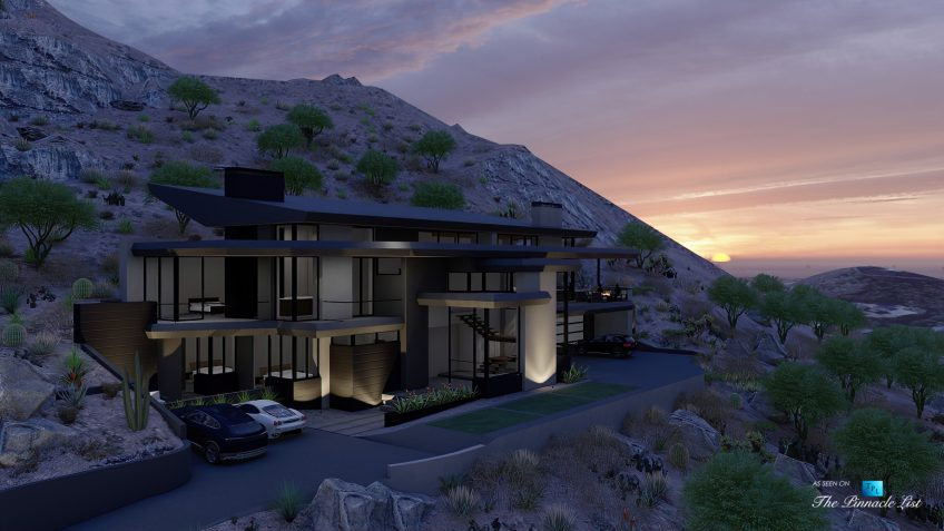 5221 E Cheney Dr, Paradise Valley, AZ, USA - Exterior Front Sunset View - Luxury Real Estate - Modern Hillside Home