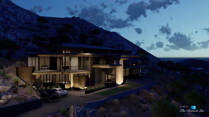 5221 E Cheney Dr, Paradise Valley, AZ, USA - Exterior Front Night View - Luxury Real Estate - Modern Hillside Home