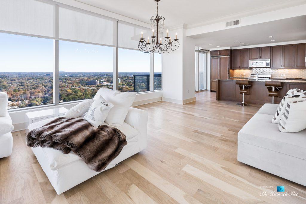 3630 Peachtree Rd NE, Unit 2808, Atlanta, GA, USA - Condo Living Room and Kitchen Window View - Luxury Real Estate - The Ritz-Carlton Residences Buckhead