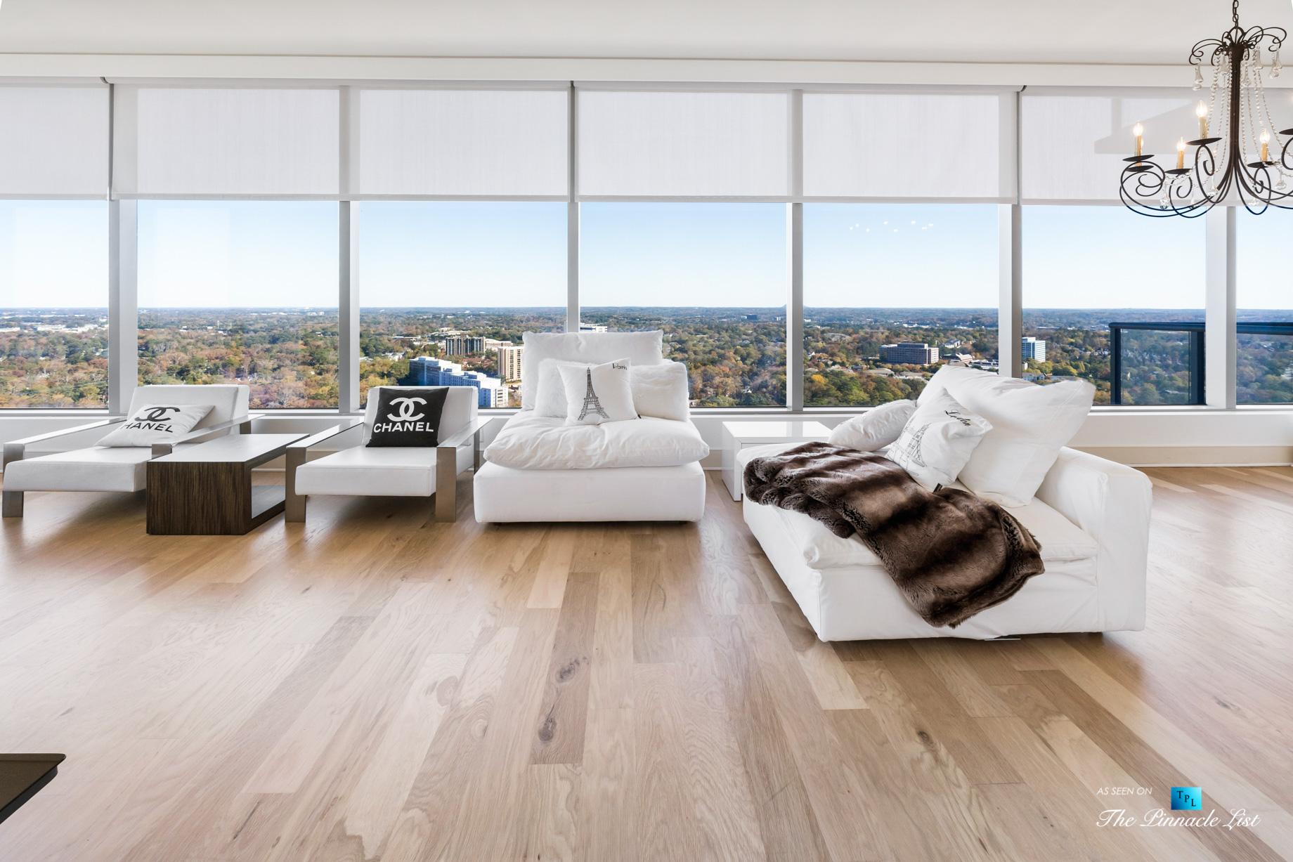 3630 Peachtree Rd NE, Unit 2808, Atlanta, GA, USA – Condo Living Room Window View – Luxury Real Estate – The Ritz-Carlton Residences Buckhead