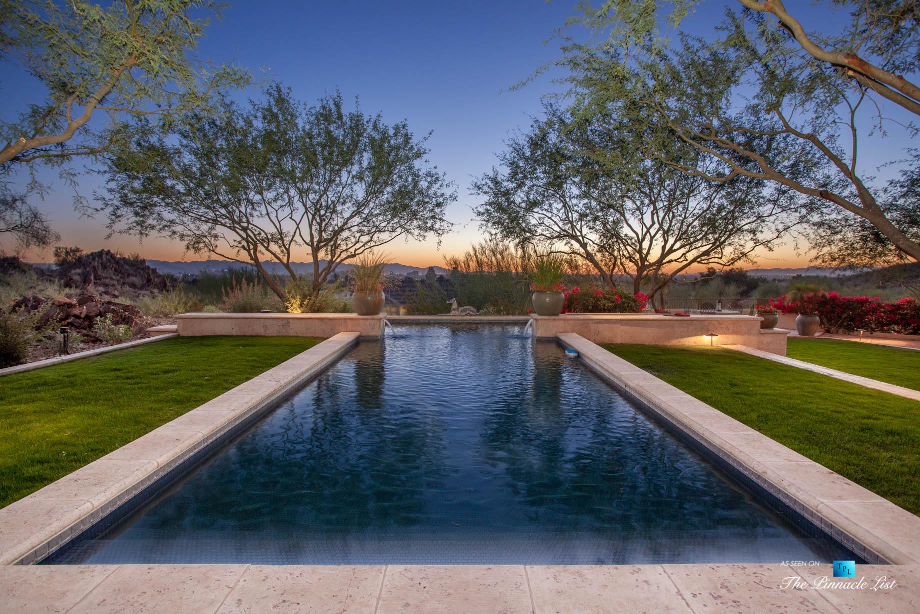 6539 N 31st Pl, Phoenix, AZ, USA – Back Yard Pool Sunset – Luxury Real Estate – Biltmore Mountain Estates – Spanish Colonial Home