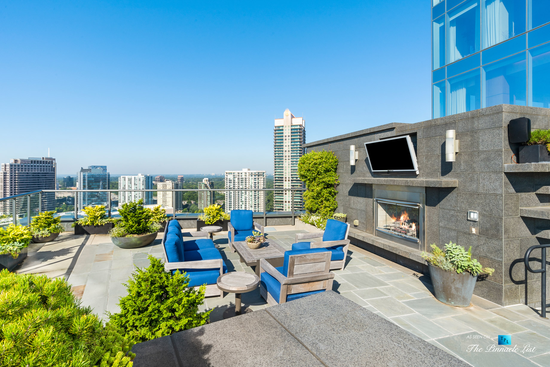 3630 Peachtree Rd NE, Unit 2307, Atlanta, GA, USA – Apartment Exterior Private Deck with Fireplace – Luxury Real Estate – Ritz-Carlton Residences Buckhead