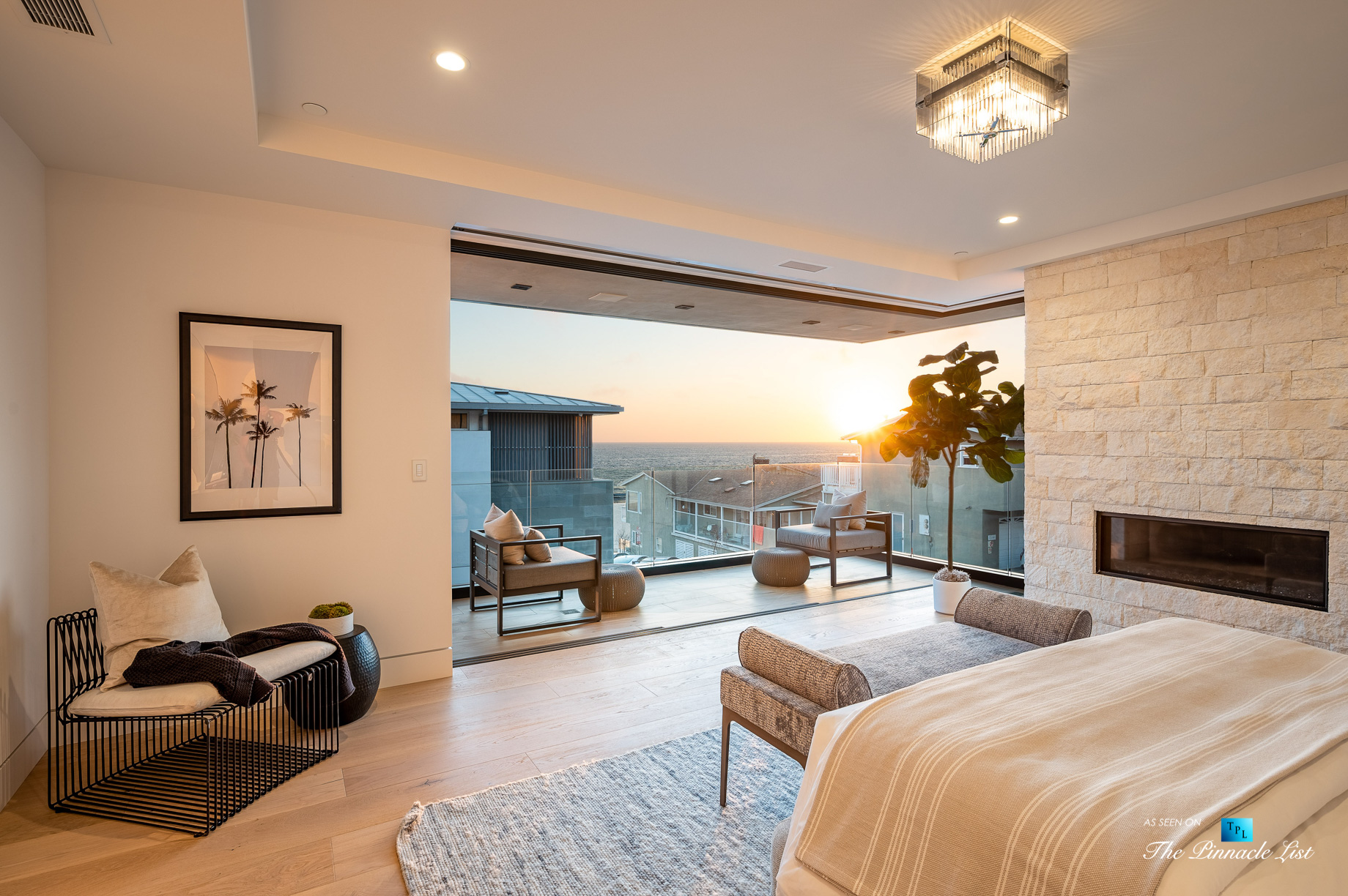 2016 Ocean Dr, Manhattan Beach, CA, USA – Master Bedroom Sunset View – Luxury Real Estate – Modern Ocean View Home