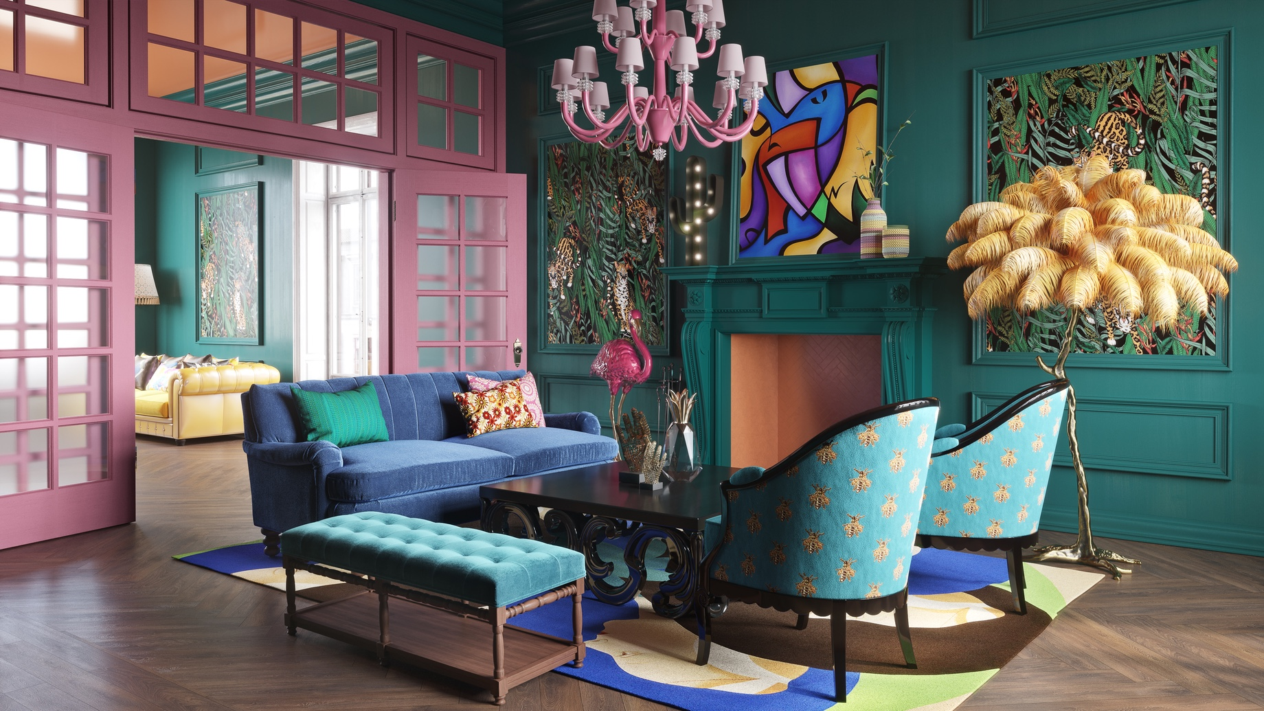 Bold Wall Paints and Printed Wallpapers - Top 6 Interior Design Trends for Luxury Living in California