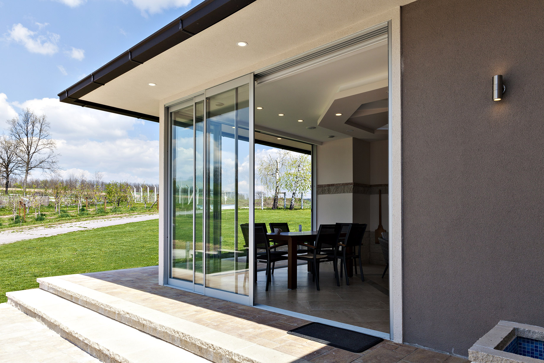 Glazed Terrace Patio Glass Sliding Door in the Countryside
