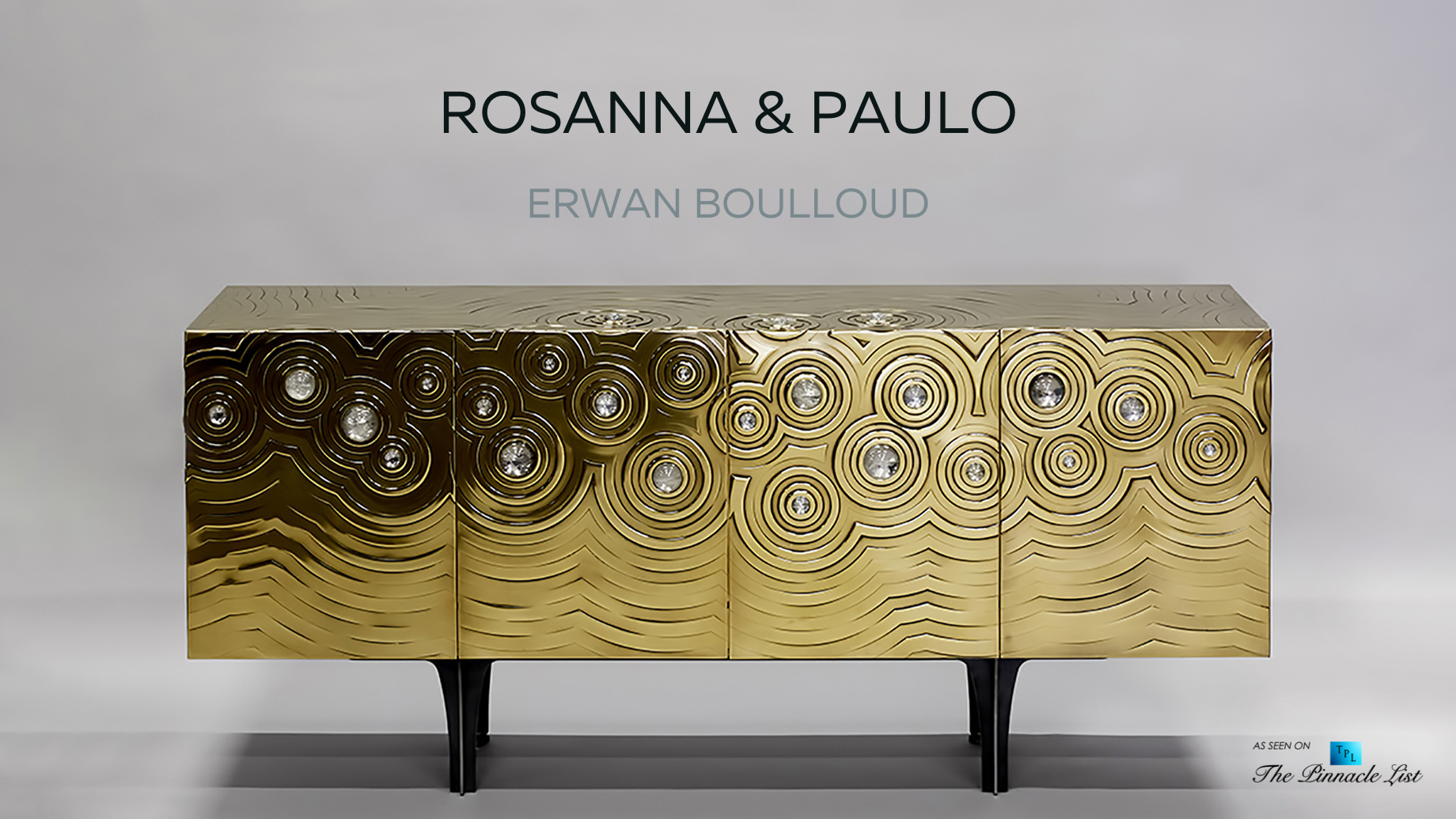 Ultra Exclusive Rosanna & Paolo Brass Crystal Cabochon Sideboard