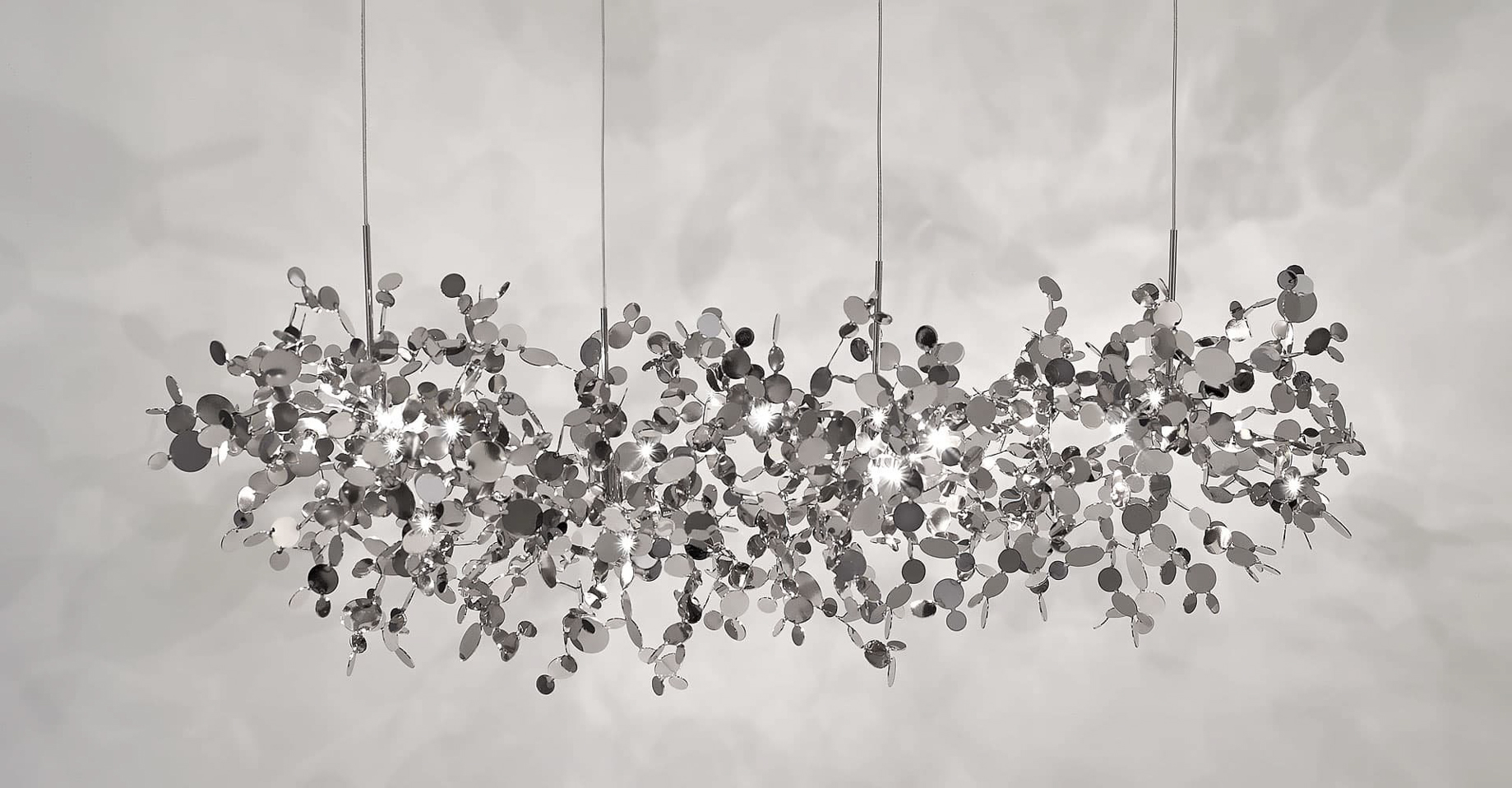 A Precious Cloud Sculpture of Light – Argent Fixtures by Terzani Lighting Italy – 4 Element Linear Suspension Silver