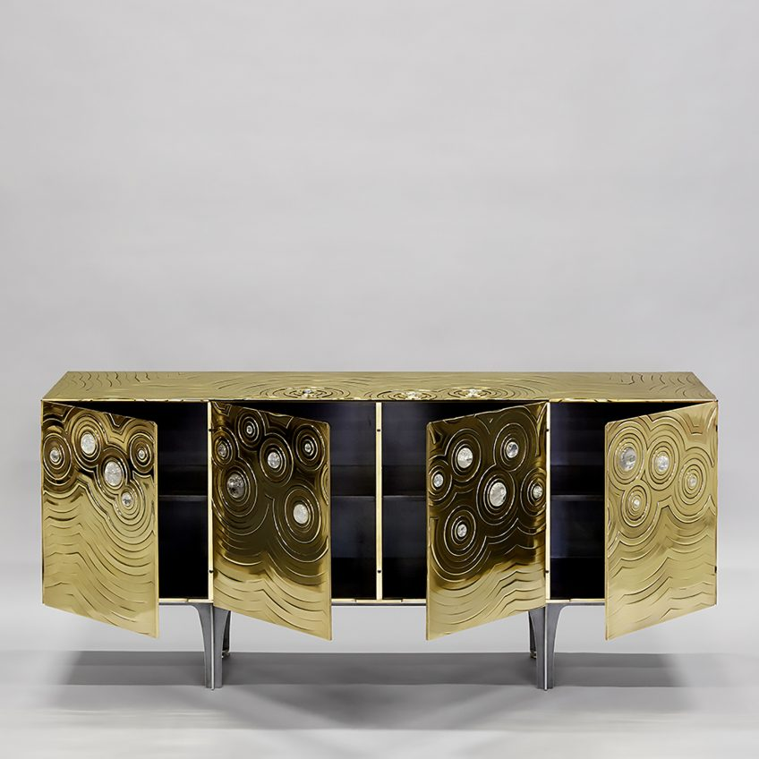Ultra Exclusive Rosanna & Paolo Brass Crystal Cabochon Sideboard - Erwan Boulloud