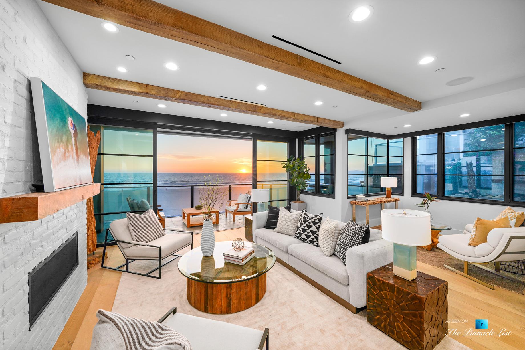 508 The Strand, Manhattan Beach, CA, USA – Twilight Living Room – Luxury Real Estate – Oceanfront Home