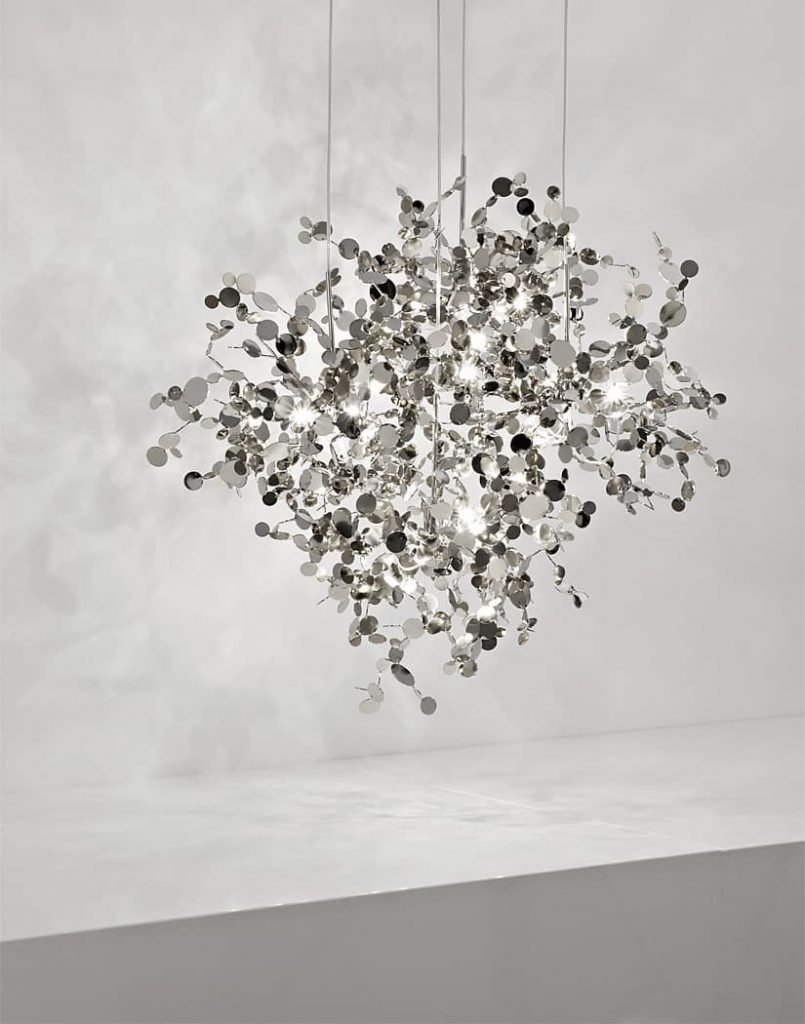 A Precious Cloud Sculpture of Light - Argent Fixtures by Terzani Lighting Italy - 4 Element Round Suspension