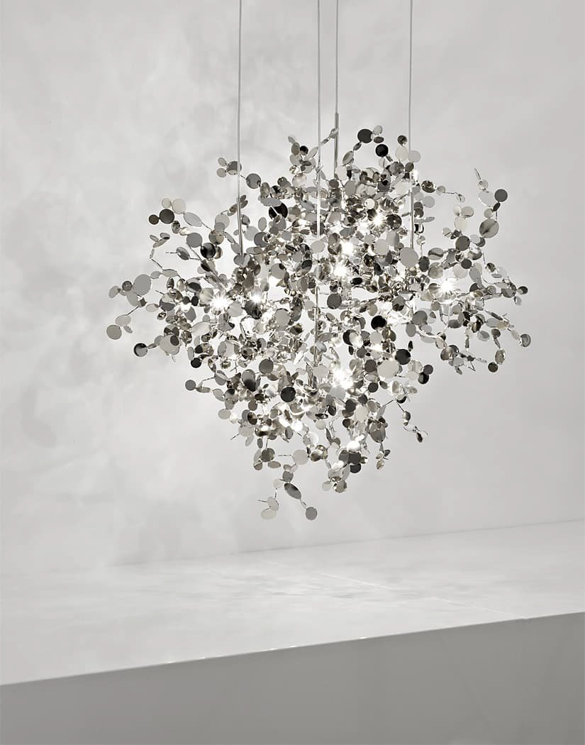 A Precious Cloud Sculpture of Light – Argent Fixtures by Terzani Lighting Italy – 4 Element Round Suspension