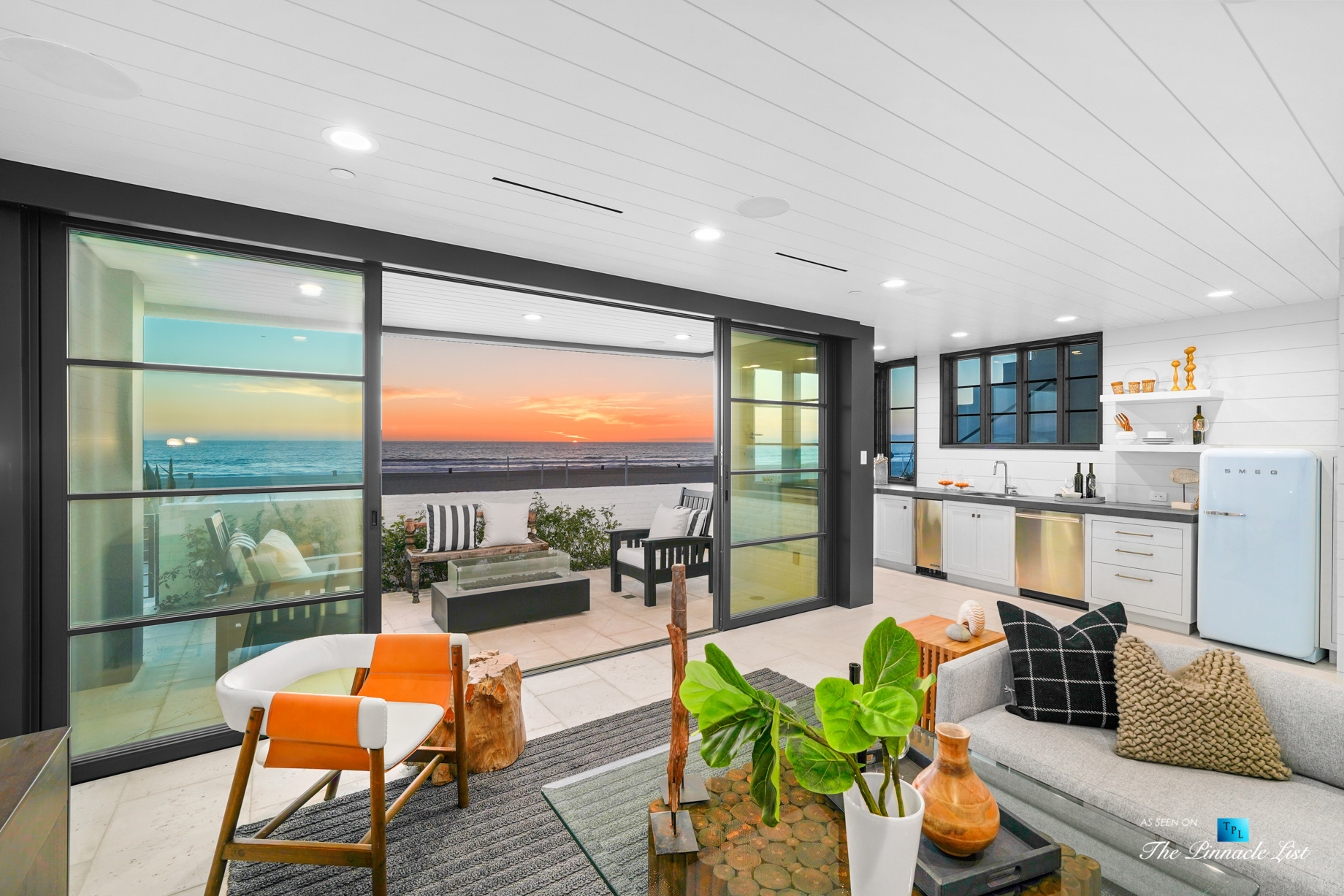 508 The Strand, Manhattan Beach, CA, USA - Twilight Downstairs Living Room - Luxury Real Estate - Oceanfront Home