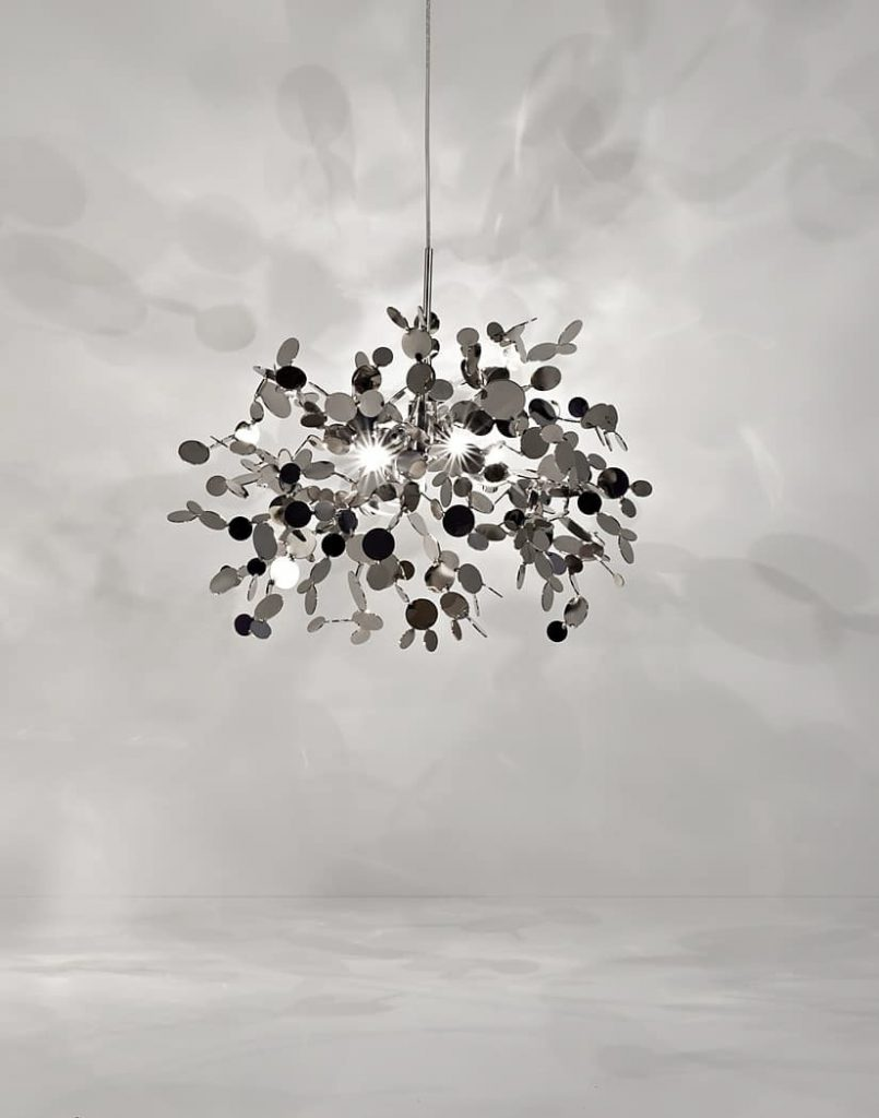 A Precious Cloud Sculpture of Light - Argent Fixtures by Terzani Lighting Italy - Single Element Suspension Silver