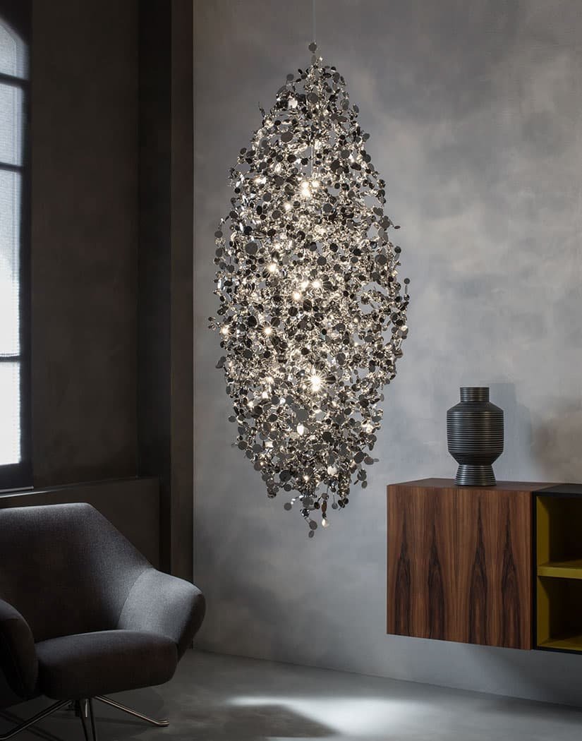 A Precious Cloud Sculpture of Light – Argent Fixtures by Terzani Lighting Italy – Large Suspension Cluster Gold