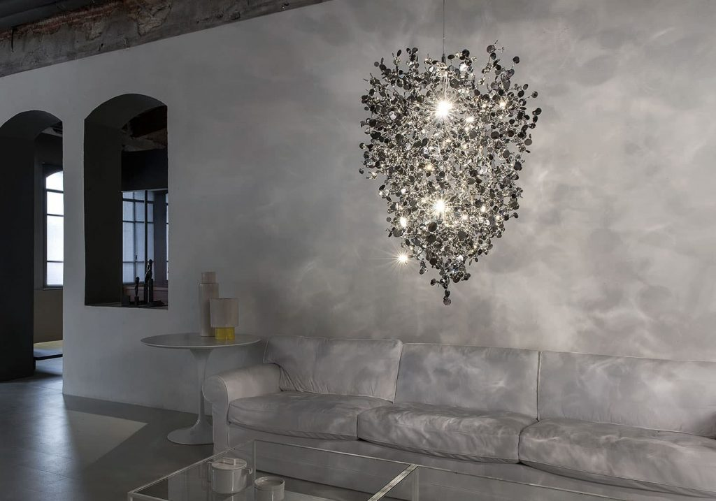 A Precious Cloud Sculpture of Light - Argent Fixtures by Terzani Lighting Italy - Medium Suspension Cluster Silver
