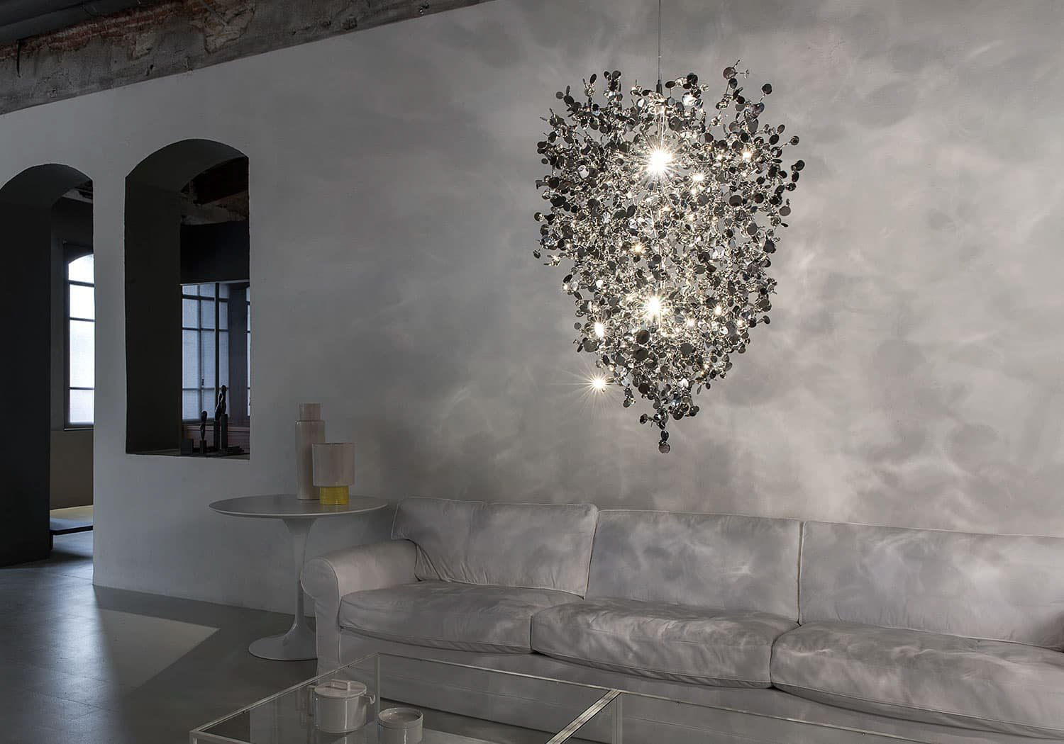 A Precious Cloud Sculpture of Light – Argent Fixtures by Terzani Lighting Italy – Medium Suspension Cluster Silver