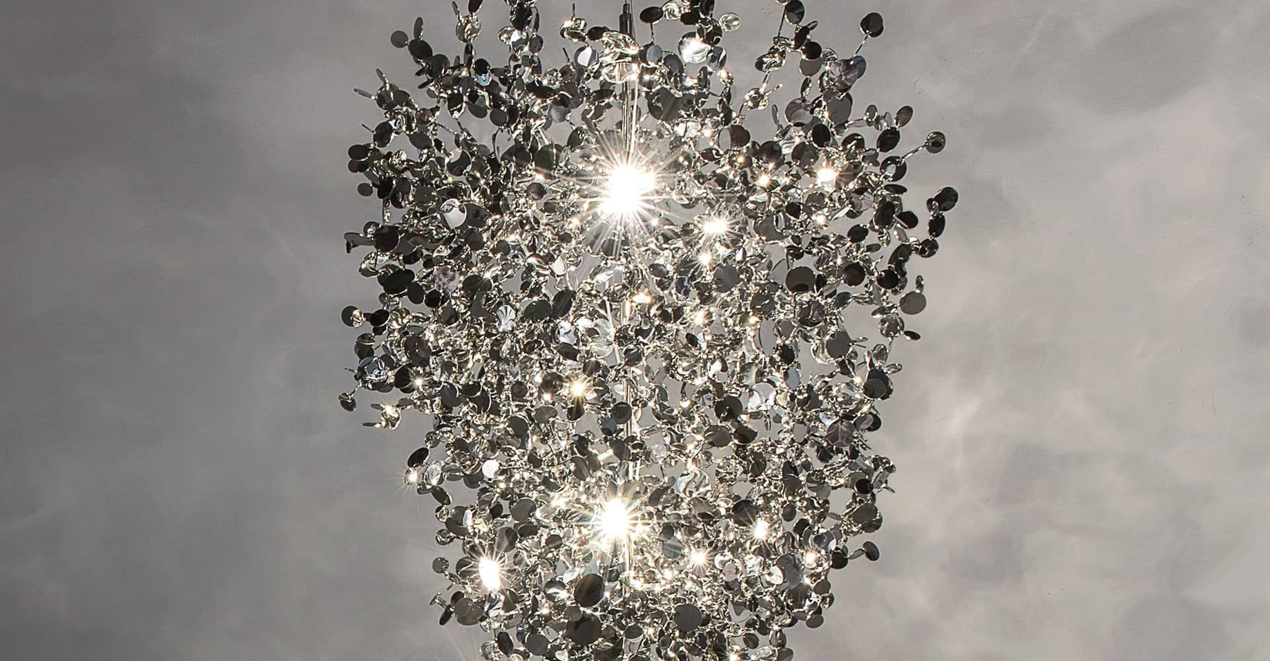 A Precious Cloud Sculpture of Light - Argent Fixtures by Terzani Lighting Italy - Medium Suspension Silver