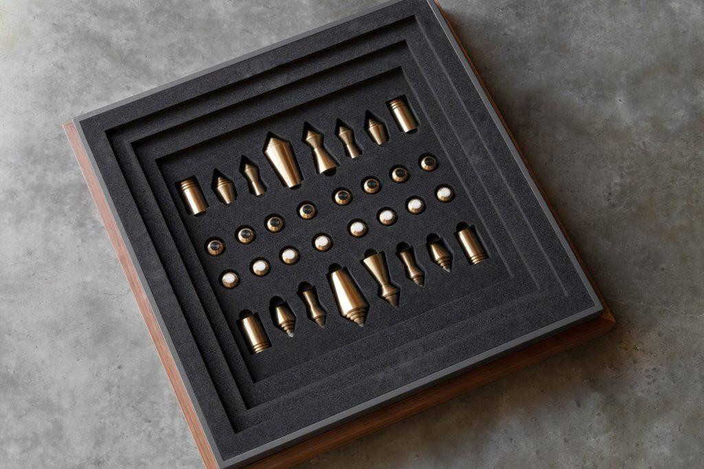 Chess & Draughts Luxury Designer Board Game Collection - Bert Frank - WALNUT STORAGE CHEST
