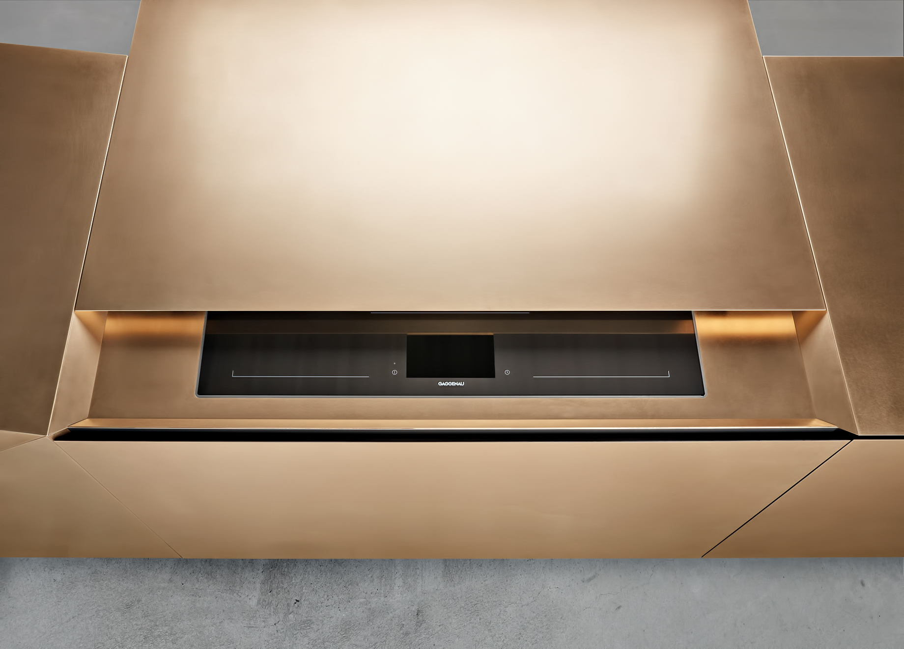 Iconic Steininger FOLD High Tech Kitchen Block Design Inspired by Origami - Actuation of the motion sensor reveals the hob