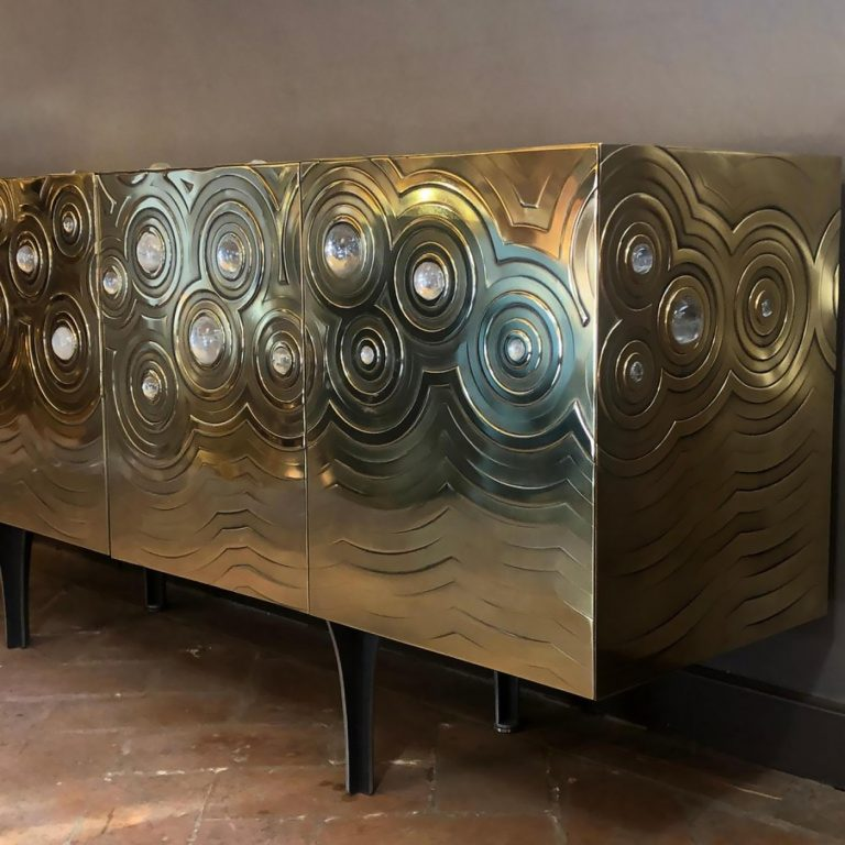 Ultra Exclusive Rosanna & Paolo Brass Crystal Cabochon Sideboard – Erwan Boulloud