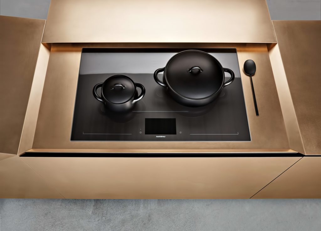 Iconic Steininger FOLD High Tech Kitchen Block Design Inspired by Origami - Hob extension open
