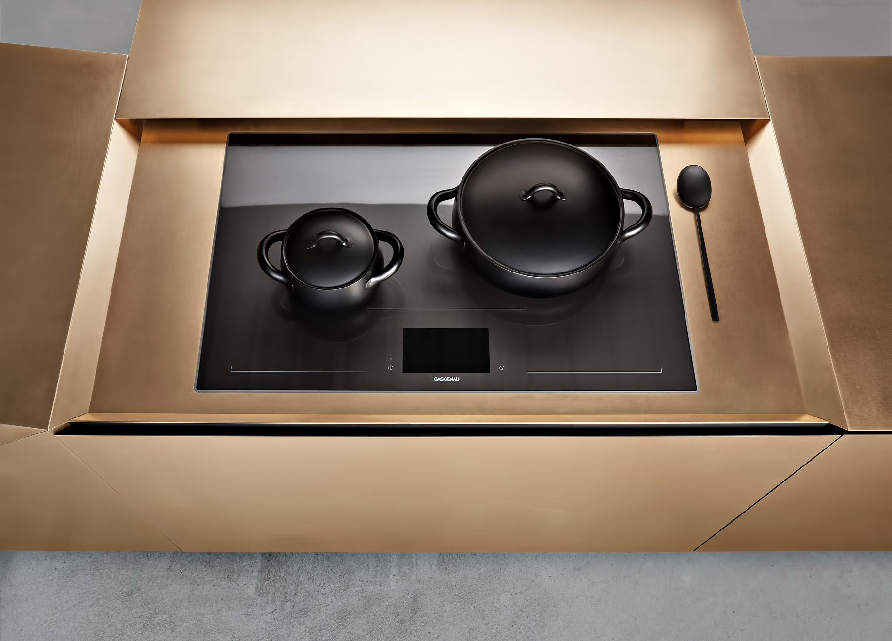 Iconic Steininger FOLD High Tech Kitchen Block Design Inspired by Origami – Hob extension open