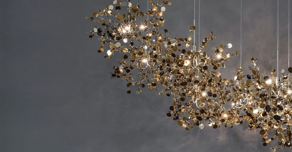 A Precious Cloud Sculpture of Light - Argent Fixtures by Terzani Lighting Italy - Shimmering Gold Cloud