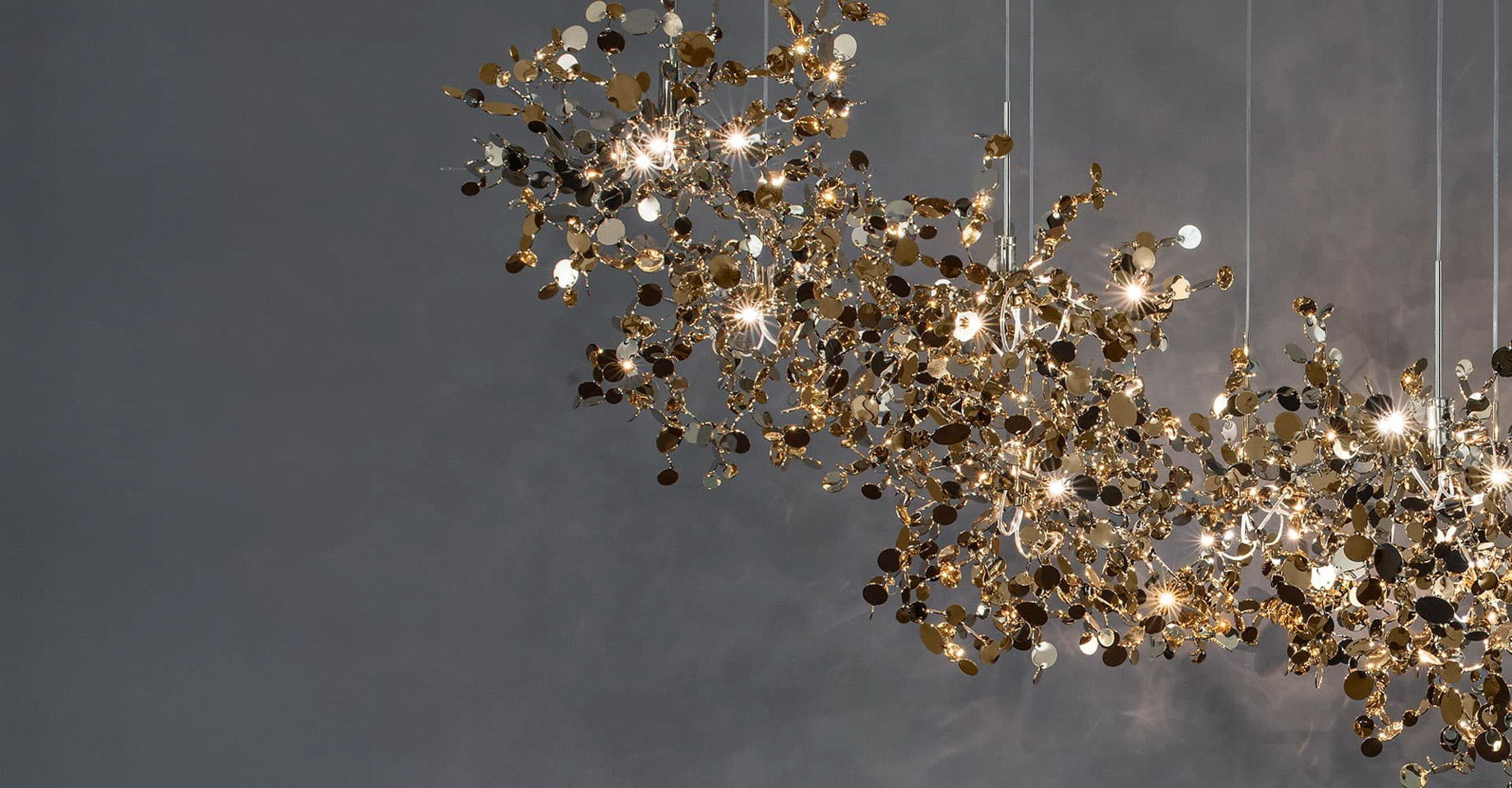 A Precious Cloud Sculpture of Light – Argent Fixtures by Terzani Lighting Italy – Shimmering Gold Cloud