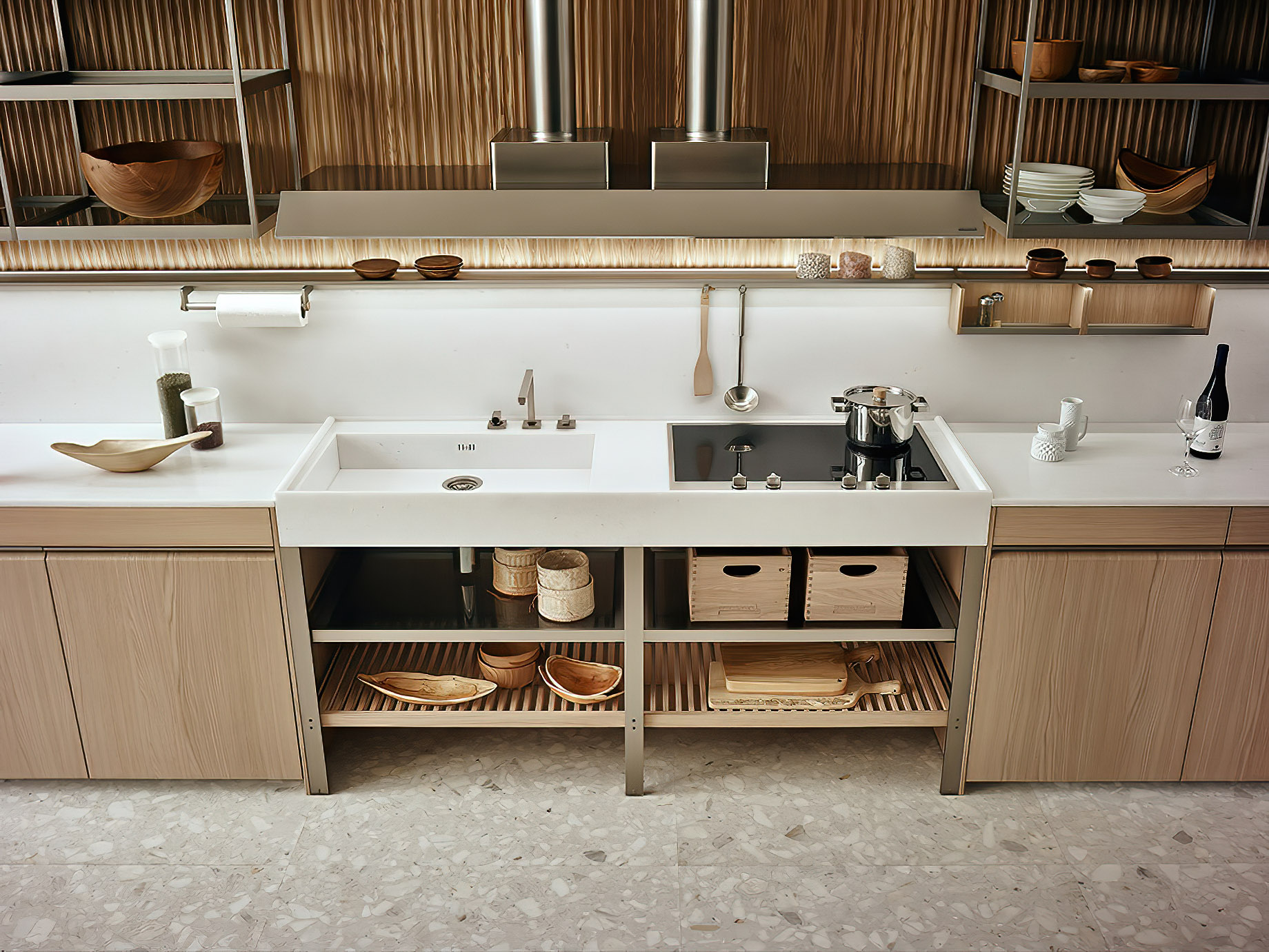 K-lab Contemporary Kitchen Ernestomeda Italy – Giuseppe Bavuso – Dual Cooking and Washing MonoBloc