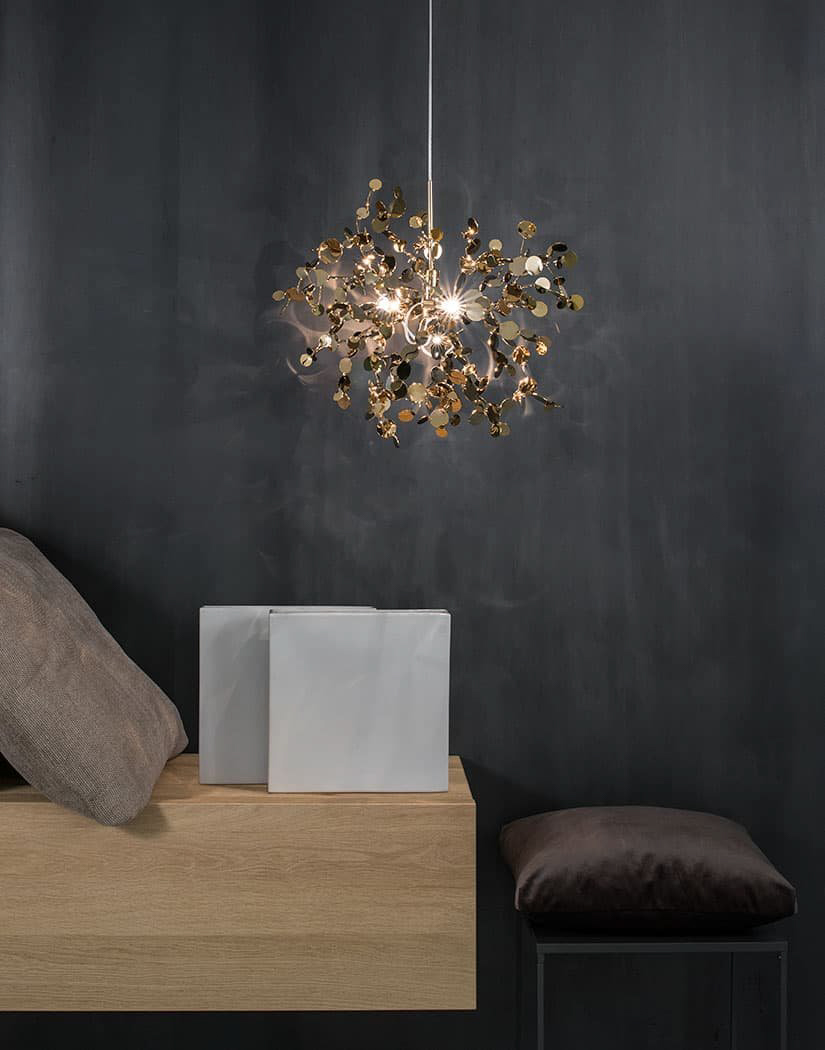 A Precious Cloud Sculpture of Light - Argent Fixtures by Terzani Lighting Italy - Single Element Suspension Cluster Gold