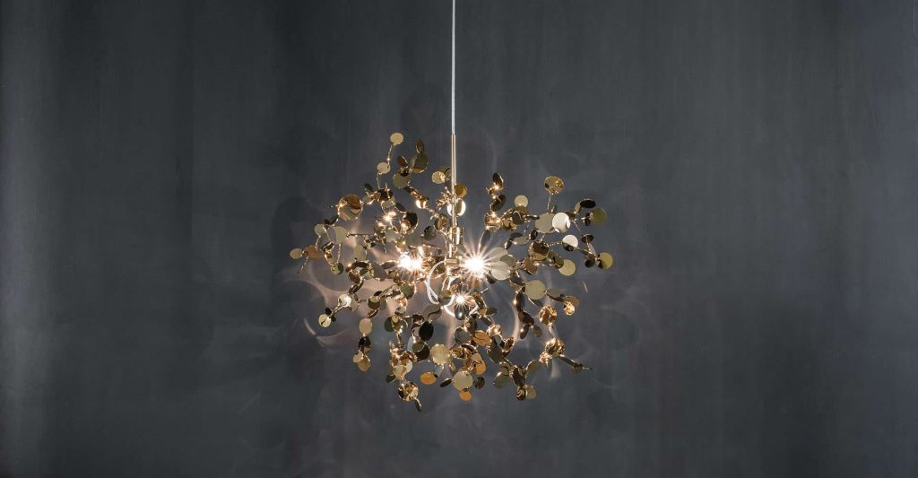 A Precious Cloud Sculpture of Light - Argent Fixtures by Terzani Lighting Italy - Single Element Suspension Gold