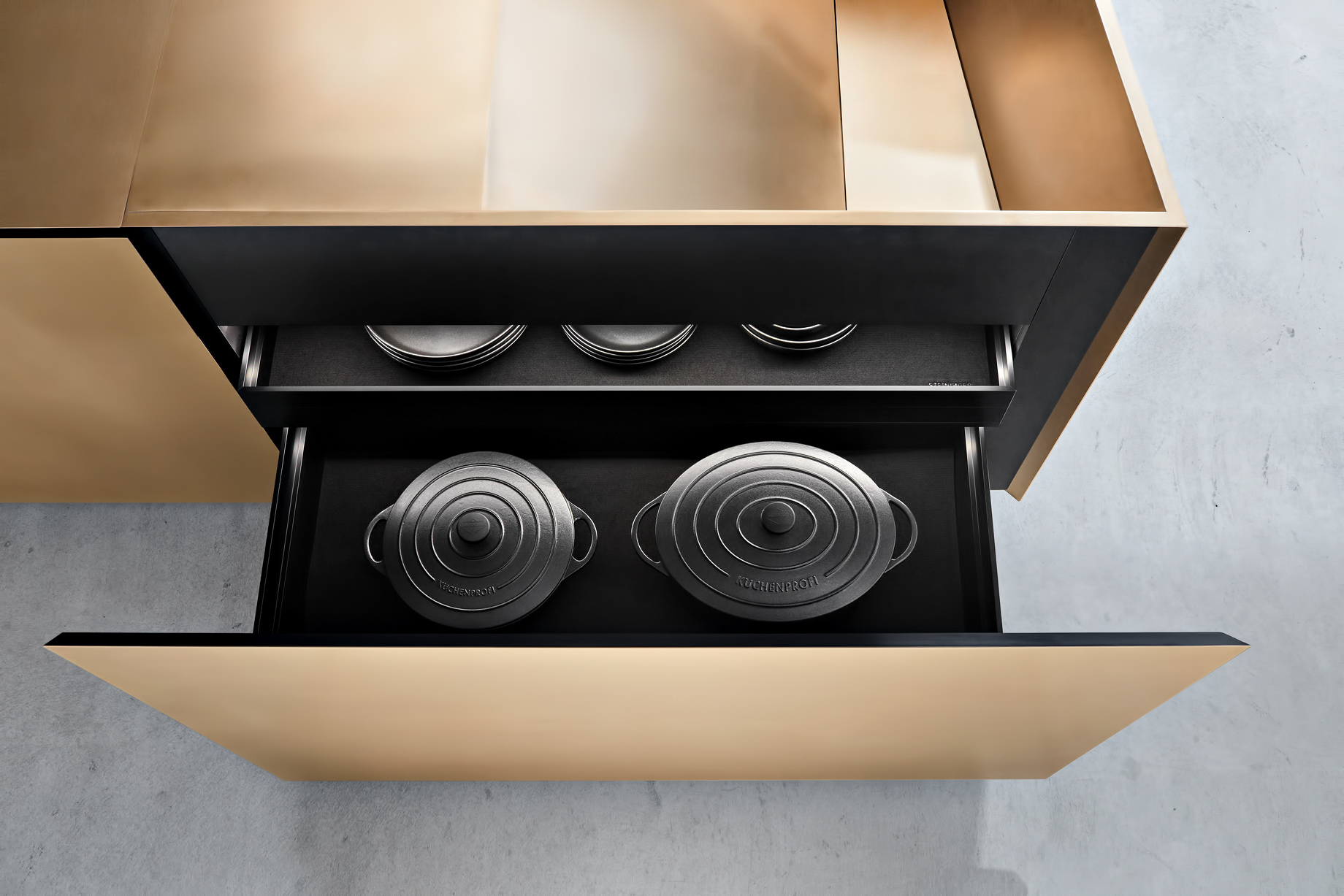 Iconic Steininger FOLD High Tech Kitchen Block Design Inspired by Origami – All drawers slides with indirect lighting