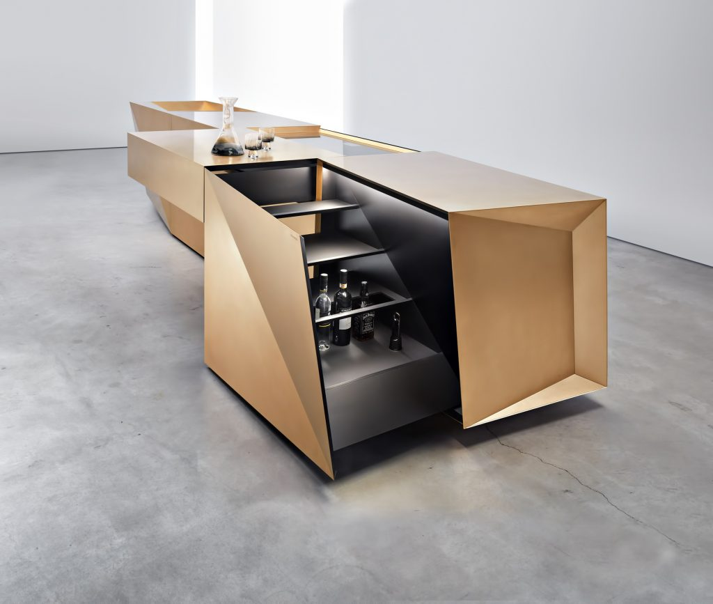 Iconic Steininger FOLD High Tech Kitchen Block Design Inspired by Origami - Hob and bar open