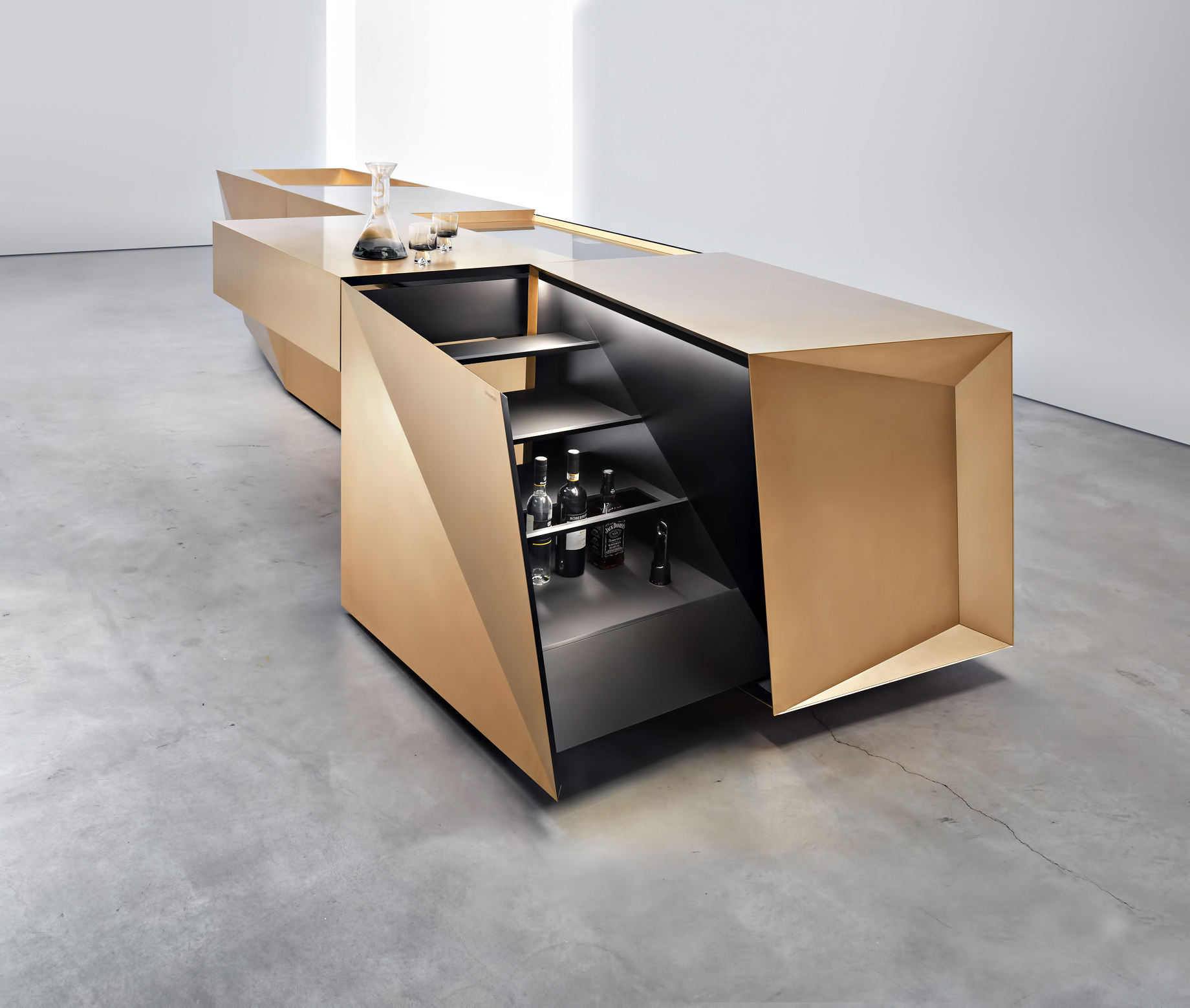 Iconic Steininger FOLD High Tech Kitchen Block Design Inspired by Origami – Hob and bar open