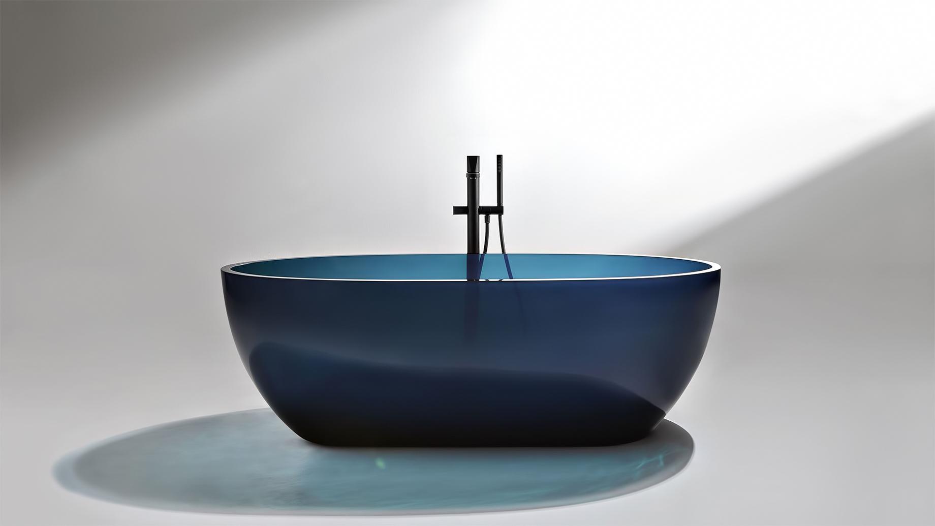 Transparent REFLEX Cristalmood Resin Luxury Bathtub by AL Studio – Ceruleo