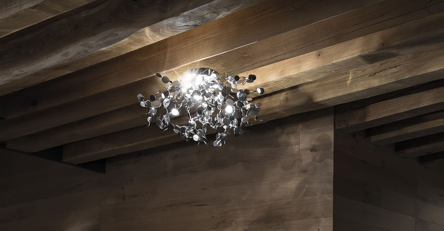 A Precious Cloud Sculpture of Light - Argent Fixtures by Terzani Lighting Italy - Suspension Light Silver