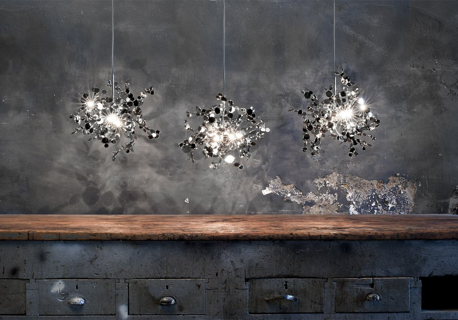 018 – A Precious Cloud Sculpture of Light – Argent Fixtures by Terzani Lighting Italy – Three Single Element Suspensions