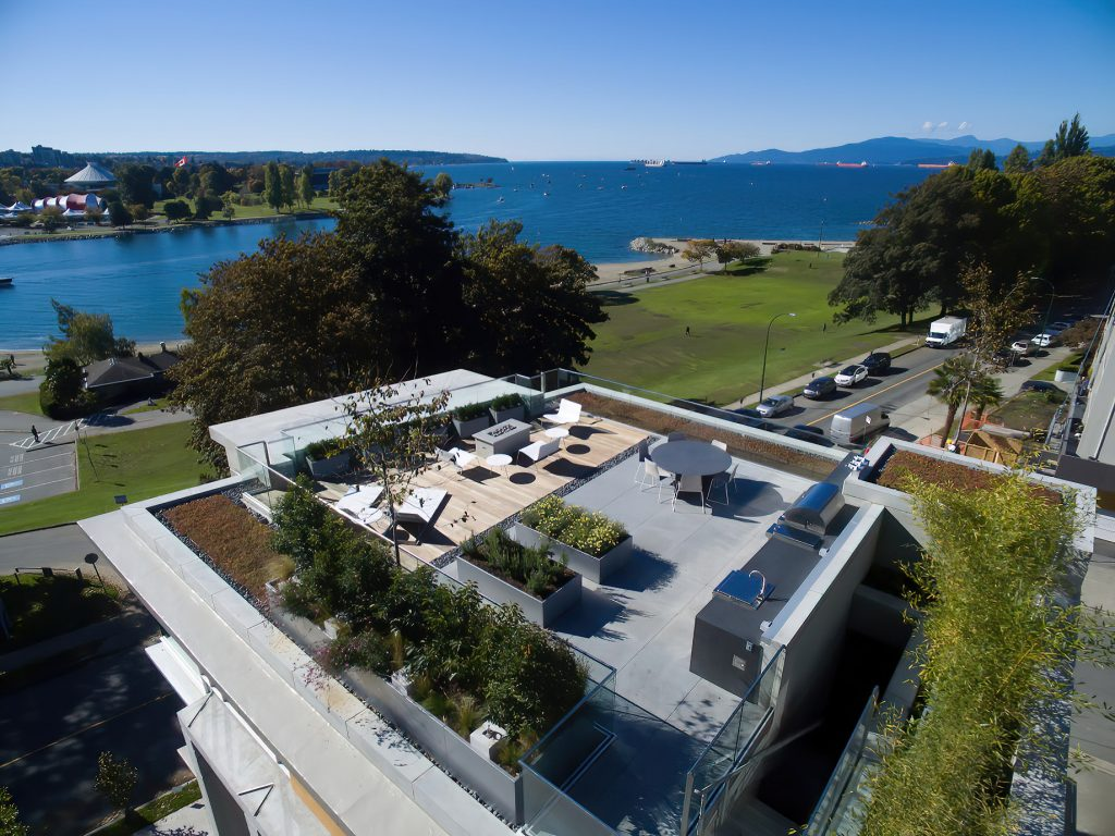 Eventide Ultra Luxury English Bay Homes - Bute St, Vancouver, BC, Canada - Aerial Rooftop Deck English Bay View