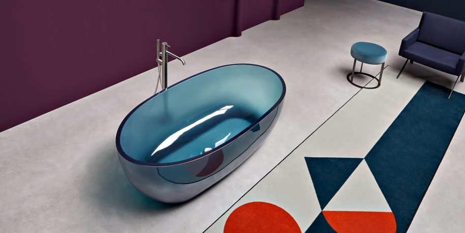 Transparent REFLEX Cristalmood Resin Luxury Bathtub by AL Studio - Petrolio
