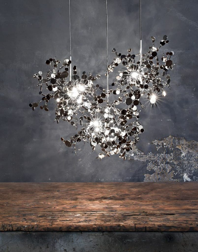 019 - A Precious Cloud Sculpture of Light - Argent Fixtures by Terzani Lighting Italy - 3 Single Element Suspensions Silver