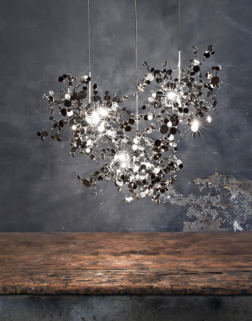 019 – A Precious Cloud Sculpture of Light – Argent Fixtures by Terzani Lighting Italy – 3 Single Element Suspensions Silver