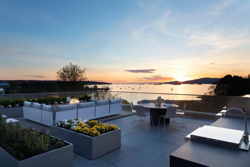 Eventide Ultra Luxury English Bay Homes - Bute St, Vancouver, BC, Canada - Rooftop Deck Sunset