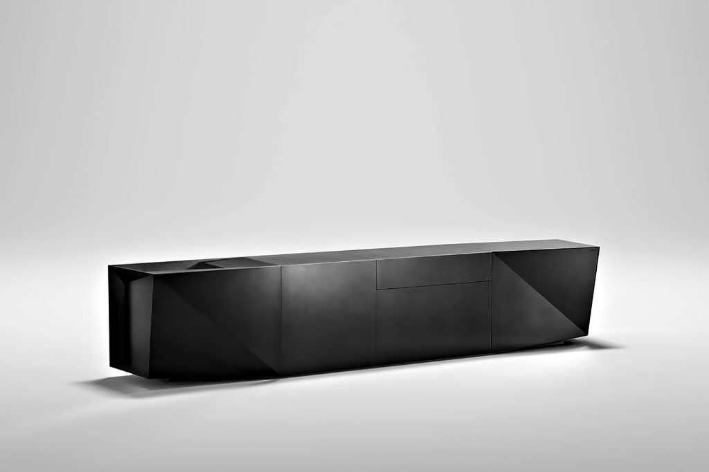 Iconic Steininger FOLD High Tech Kitchen Block Design Inspired by Origami - Forceful Black