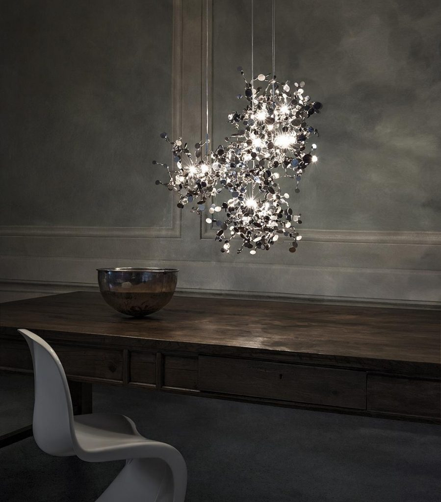 020 - A Precious Cloud Sculpture of Light - Argent Fixtures by Terzani Lighting Italy - 3 Single Element Suspensions