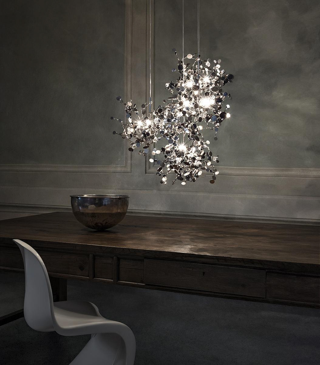 020 – A Precious Cloud Sculpture of Light – Argent Fixtures by Terzani Lighting Italy – 3 Single Element Suspensions